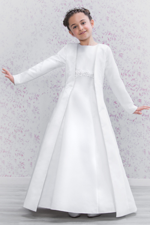 Emmerling White Satin Long Communion Coat 70180